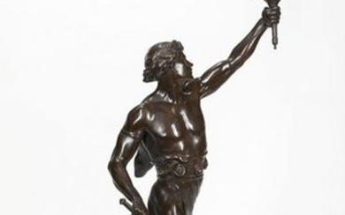 Patinated Bronze and Marble Figural Lamp