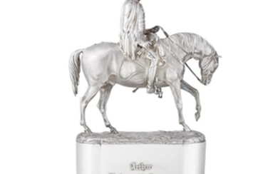 A rare Victorian sterling silver equestrian sculpture of the...