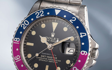 Rolex, Ref. 1675 inside caseback stamped II.65 A striking and extremely rare stainless steel automatic dual time wristwatch with center seconds, date, gilt/gloss dial, fuchsia bezel and bracelet