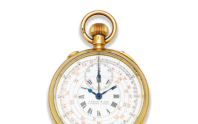S. Smith and Son, 9 Strand, London. An 18K gold keyless wind open face split second chronograph pocket watch