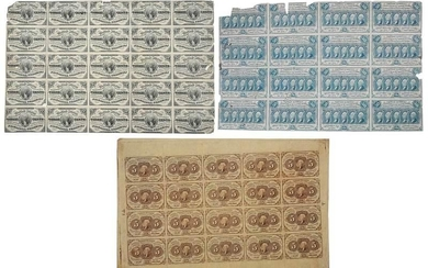 Three Uncut Sheets of U.S. Fractional Currency