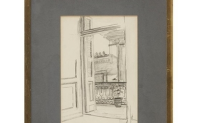 AHLAS ABHNAI (20th century) VIEW FROM BALCONY Signed twice...