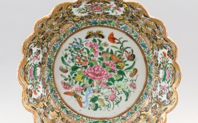 CHINESE EXPORT PORCELAIN LOW BOWL With central floral bouquet and butterflies and a scalloped thousand butterfly rim. Unmarked. Diam...