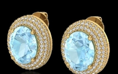 8 CTW Aquamarine & Micro Pave VS/SI Diamond Certified