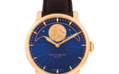 Arnold & Son. A pink gold wristwatch with a large perpetual moon display