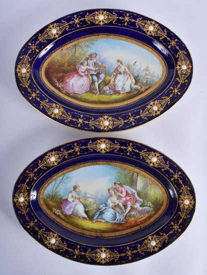 A LARGE PAIR OF 18TH/19TH CENTURY SEVRES PORCELAIN
