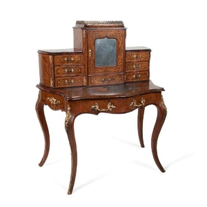 French Burlwood and Marquetry Bonheur du Jour