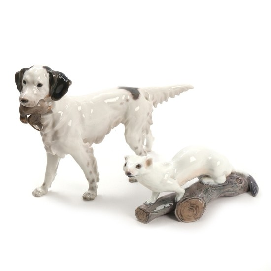 Jens Peter Dahl-Jensen: Ermelin and English setter. Two porcelain figurines. Dahl-Jensen and Bing & Groendahl. H. 12 and 22 cm. (2)