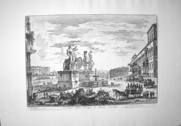 Piranesi, Giovanni: PIAZZA DEL QUIRINALE, WITH THE STATUES OF THE HORSES IN SIDE VIEW, Year 1750.