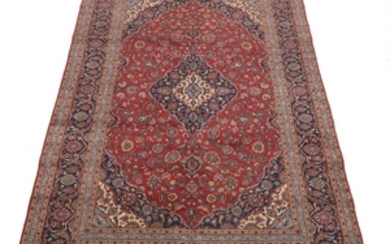 Semi-Antique Hand-Knotted Kashan Carpet