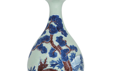A CELADON-GROUND UNDERGLAZE BLUE AND COPPER RED-DECORATED PEAR-SHAPED VASE, YUHUCHUNPING, 18TH-19TH CENTURY
