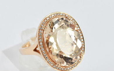 A MORGANITE AND DIAMOND DRESS RING