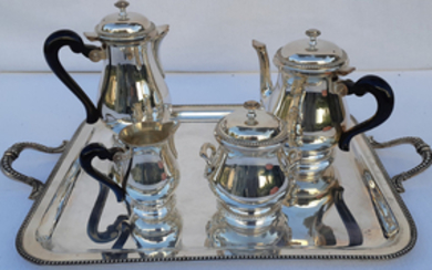 5 PC. FRENCH SILVER PLATE COFFEE/TEA BY FRANCOIS FRIONNET