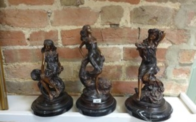 A collection of three bronze lady figures on marble bases - ...