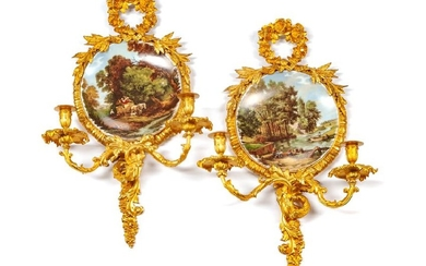 A Pair of Louis XV Style Gilt Bronze and Porcelain