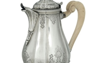 A silver coffee pot, France, 19th century