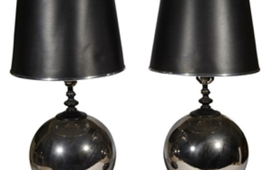 A pair of silvered ball lamps 20th century H:...