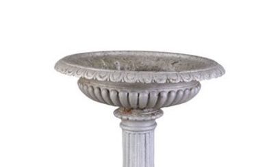 A VICTORIAN CAST IRON GARDEN URN, of classical des…