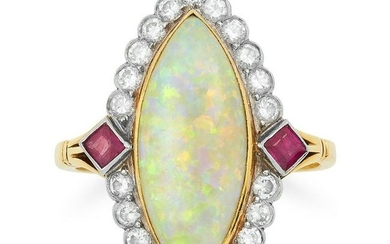 VINTAGE OPAL, DIAMOND AND RUBY CLUSTER RING set with a