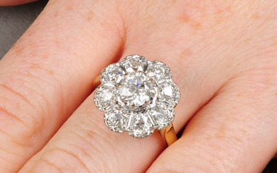 An 18ct gold old-cut diamond cluster ring.
