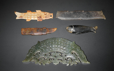 A group of five archaic jade fish and amphibian carvings