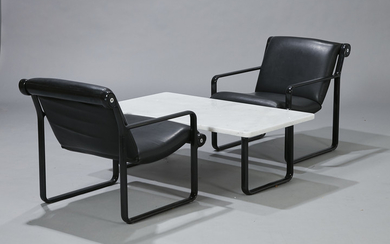 Bruce R. Hannah & Andrew Ivar Morrison for Knoll International. A pair of lounge chairs and a coffee table. (3)