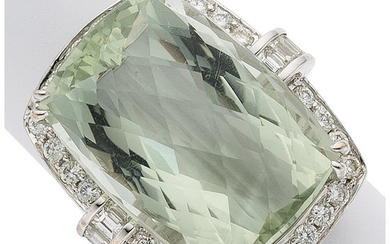 Prasiolite, Diamond, White Gold Ring The ring features a...