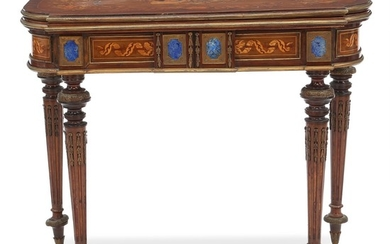 A richly inlaid Russian Louis XVI style walnut and fruitwood card table. Frame with six lapis lazuli panels. Ca. 1870. H. 75 cm. W. 91 cm. D. 45/90 cm.