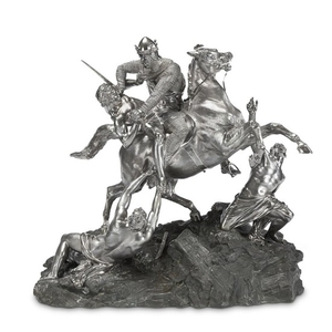 A Victorian sterling silver and bronze figural group John...