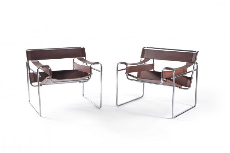 A pair of chrome and leather 'Wassily' chairs