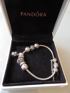 Lot Art Pandora Bracelet With Eight Charms In Original Box Together