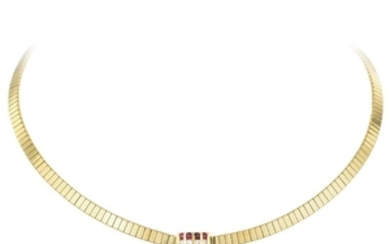 A Gold Ruby and Diamond Link Necklace