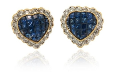 A pair of sapphire and diamond cluster earrings,...