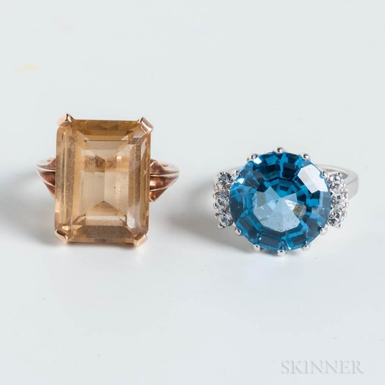 10kt Gold and Citrine Ring and 10kt White Gold and Blue Topaz Ring
