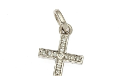 A diamond pendant in the shape of a cross set with numerous brilliant-cut diamonds, mounted in 14k white gold. H. incl. eye-let 19 mm.