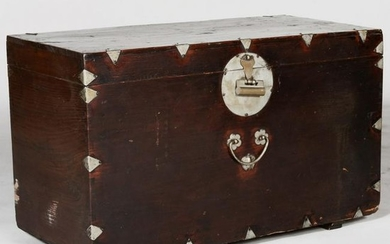 Chinese Export Metal-Mounted Stained Hardwood Trunk