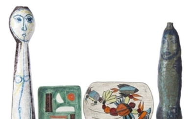 Four Art pottery works mid-20th century Including two tall...