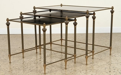 SET 3 BRASS NESTING TABLES MIRRORED GLASS C.1960