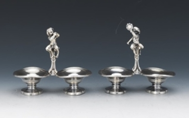 Two French 950 Sterling Silver Individual Salt Cellars, by Odiot A Paris