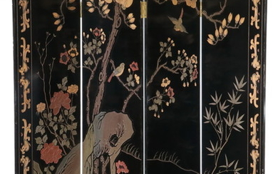 CIRCA 1950 LACQUERED CHINESE FOLDING SCREEN