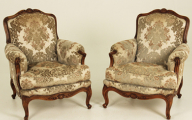PR. OF FRENCH LOUIS XV STYLE CAVED WALNUT BERGERE