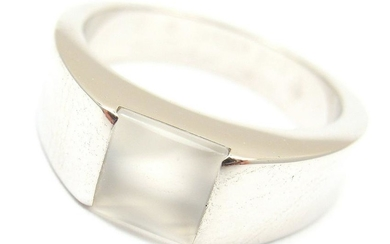 AUTHENTIC CARTIER 18k WHITE GOLD MOONSTONE TANK RING,