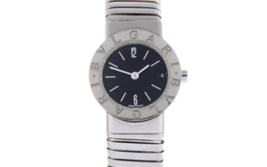 BULGARI - a lady's stainless steel Tubogas bangle watch.