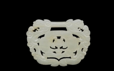 Chinese White Jade Carved Lock Plaque, 19th Century