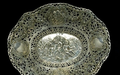German Silver Repousse Bowl.