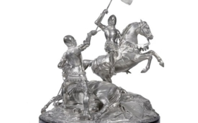 An important Victorian sterling silver equestrian trophy, 'Goodwood Cup'...