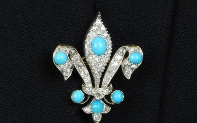 A late 19th century silver and gold, turquoise and
