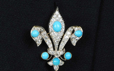 A late 19th century silver and gold, turquoise and old-cut diamond fleur-de-lis brooch.