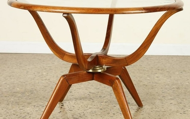 MAHOGANY GLASS COFFEE TABLE SPIDER FORM LEGS 1960