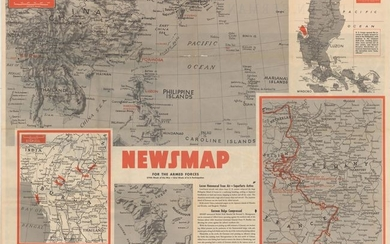 """""""Newsmap for the Armed Forces... [on verso] Duren, Germany - Before and After"""", U.S. Gov't Printing Office"""